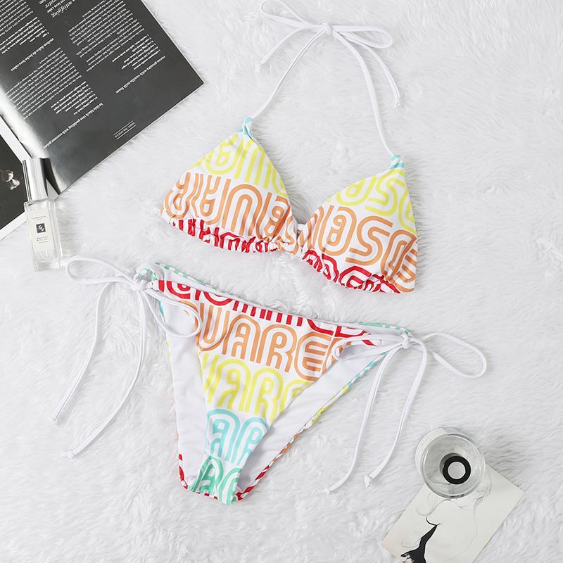 Les femmes trois points Maillot de bain Fashion Designer d'été à deux ÉPAULES bikini ensemble avec des lettres de plage Marque Maillots de bain Maillots de bain Vêtements