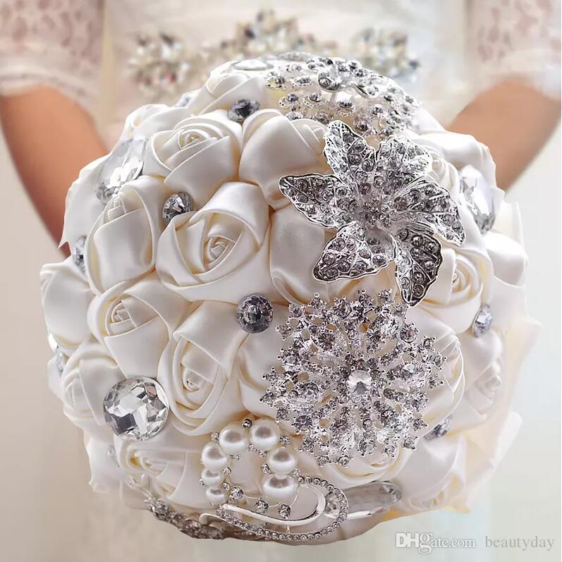 Wedding Bridal Bouquets Handmade Flowers Peals Crystal Rhinestone Rose Supplies Bride Holding Brooch Engagement 6 Color
