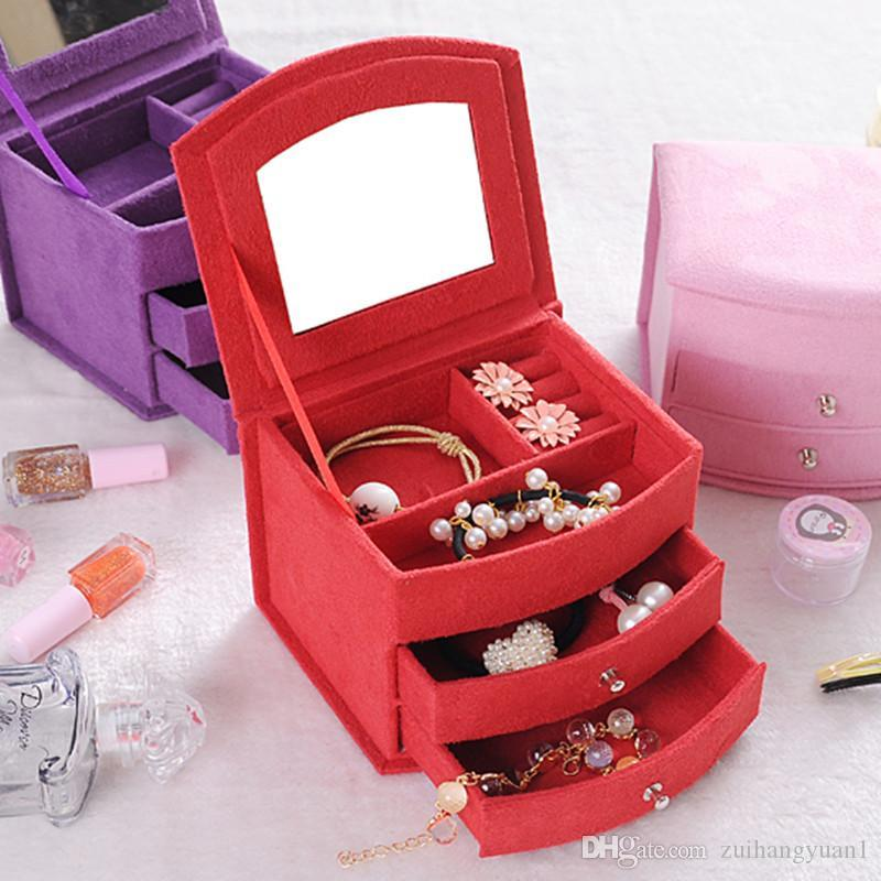 Hot Selling High Quality Velvet Three Layers Portable Multi-functional Necklace Rings Jewelry Boxes Fashion Design Gifts Box