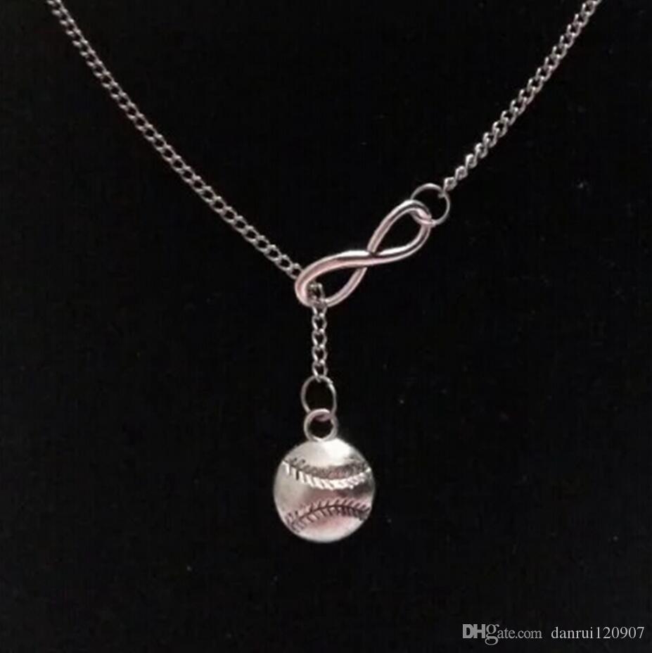 Hot Fashion Baseball & Softball Infinity Charms Collar Pendant Necklace Sweater Chain Silver Tone Women & Men Sports Jewelry Gifts - 14