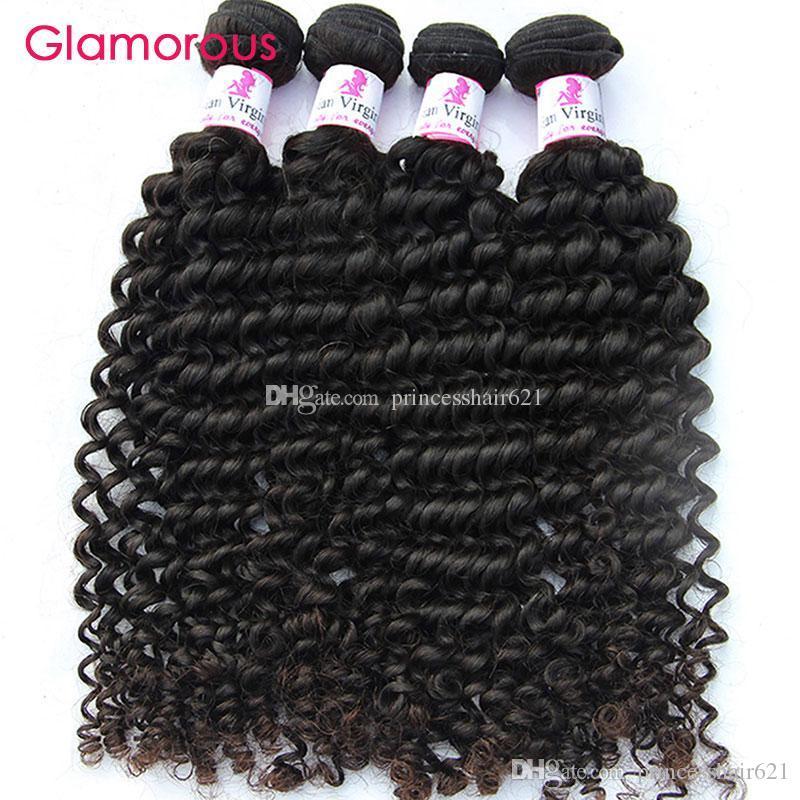 Glamour brésilien vierge cheveux bouclés cheveux humains produits 4pcs Même longueur Mélangez la longueur 100g Malaisien Péruvien Péruvien Remy Indien Cheveux Humains Tissu