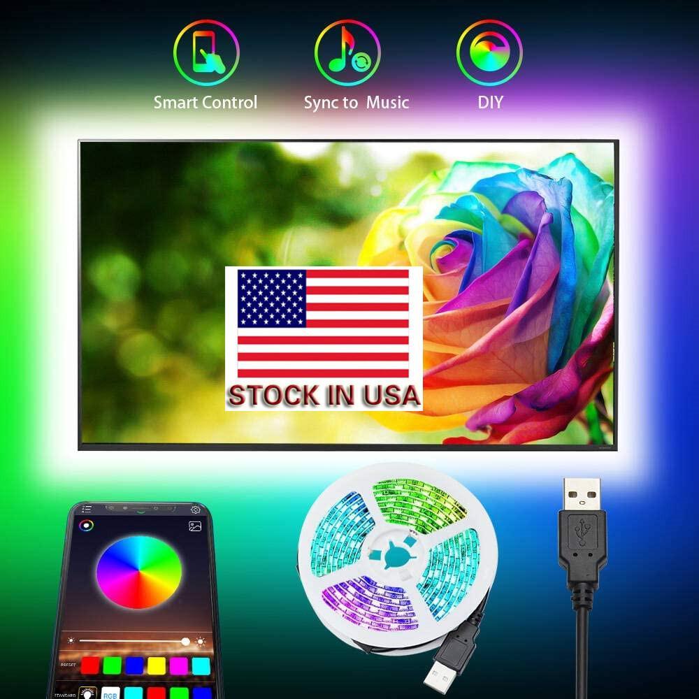 Stock Em USB 5050 RGB LED Strip Sem impermeável DC 5V USB LED Light tiras de fita flexível 3M 9,8 pés adicionar com fundo Bluetooth APP TV