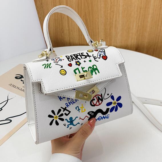 Mini Kely Bolsas Lady pequeno Crossbody Bag Moda mulheres dos grafittis Bolsas de Ombro Messenger Bag