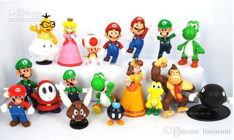 18pcs impostati Super Mario Bros Action figures Giocattoli impostato Yoshi Dinosaur giocattoli Peach Toad Goomba Doll PVC Mario Luigi PVC regali il trasporto libero
