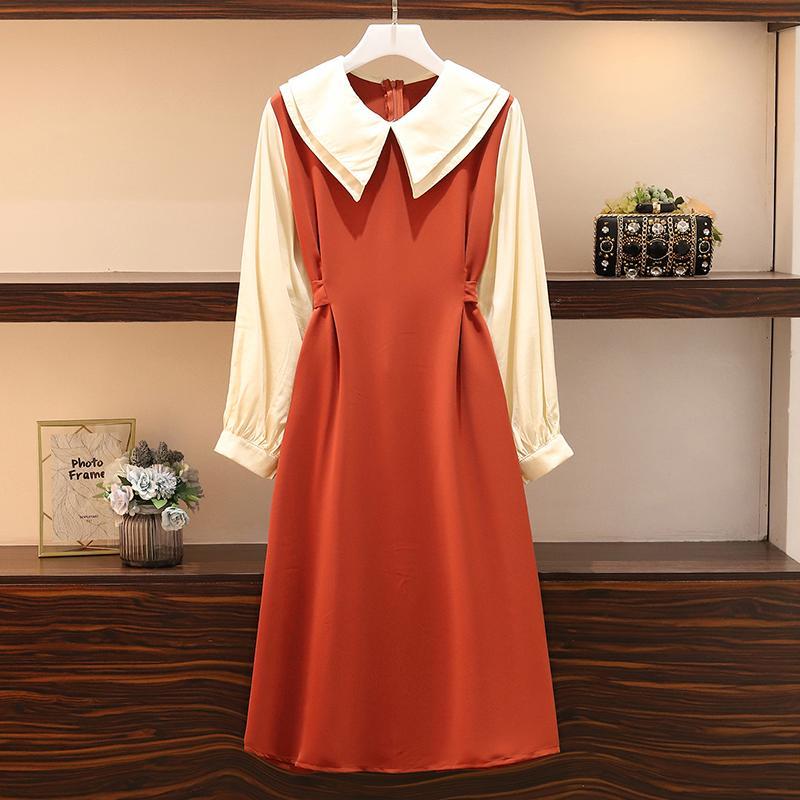 L-4XL 2020 İlkbahar Moda Kadınlar Doll Yaka Uzun Kollu Patchwork A Hattı Elbise Kadın Geri Bow Elbiseler A2136