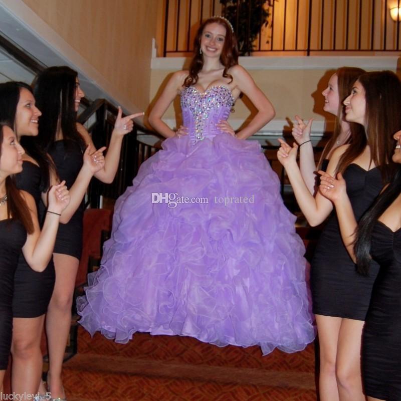 Purple Masquerade Sweet 16 Quinceañera Vestidos 2020 Vestido de bola Sweetheart Crystal Ruffles Falda escalonada Post Size Princess Formal PROM BUSTS