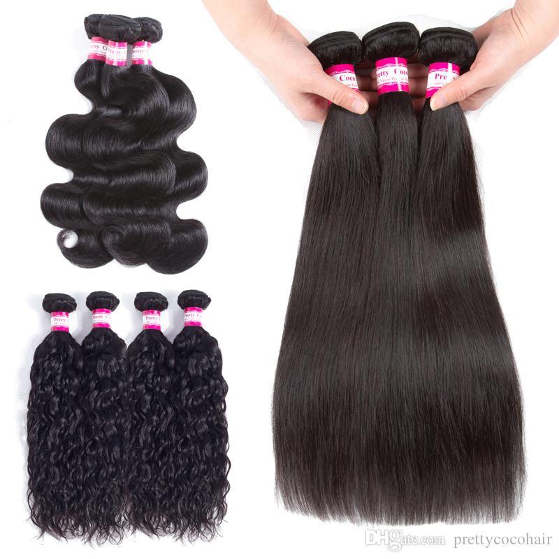 도매 가격 3 4 5 번들 바디 웨이브 스트레이트 실키 물결 인간의 머리카락 직물 8A 브라질 페루 인도의 말레이시아 버진 헤어 Wefts