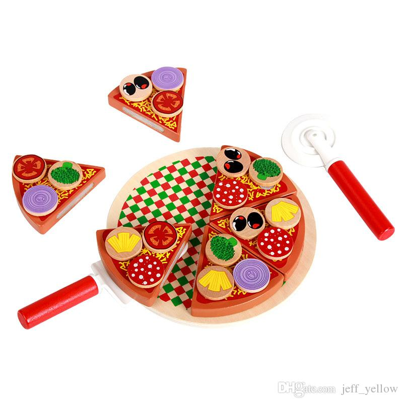 Free shipping Wooden simulation Mushroom pizza Cut Children Kitchens & Play Food Pretend Play and Dress-up toy brain game