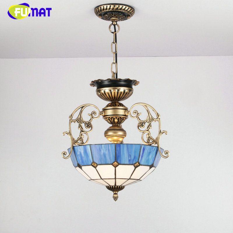FUMAT Euroepan Estilo Lustre Azul sombra de Luz Para Sala de estar Quarto de Cama de Decoração Para Casa Do Vintage de Metal Tiffany Vidro Lustres de LED
