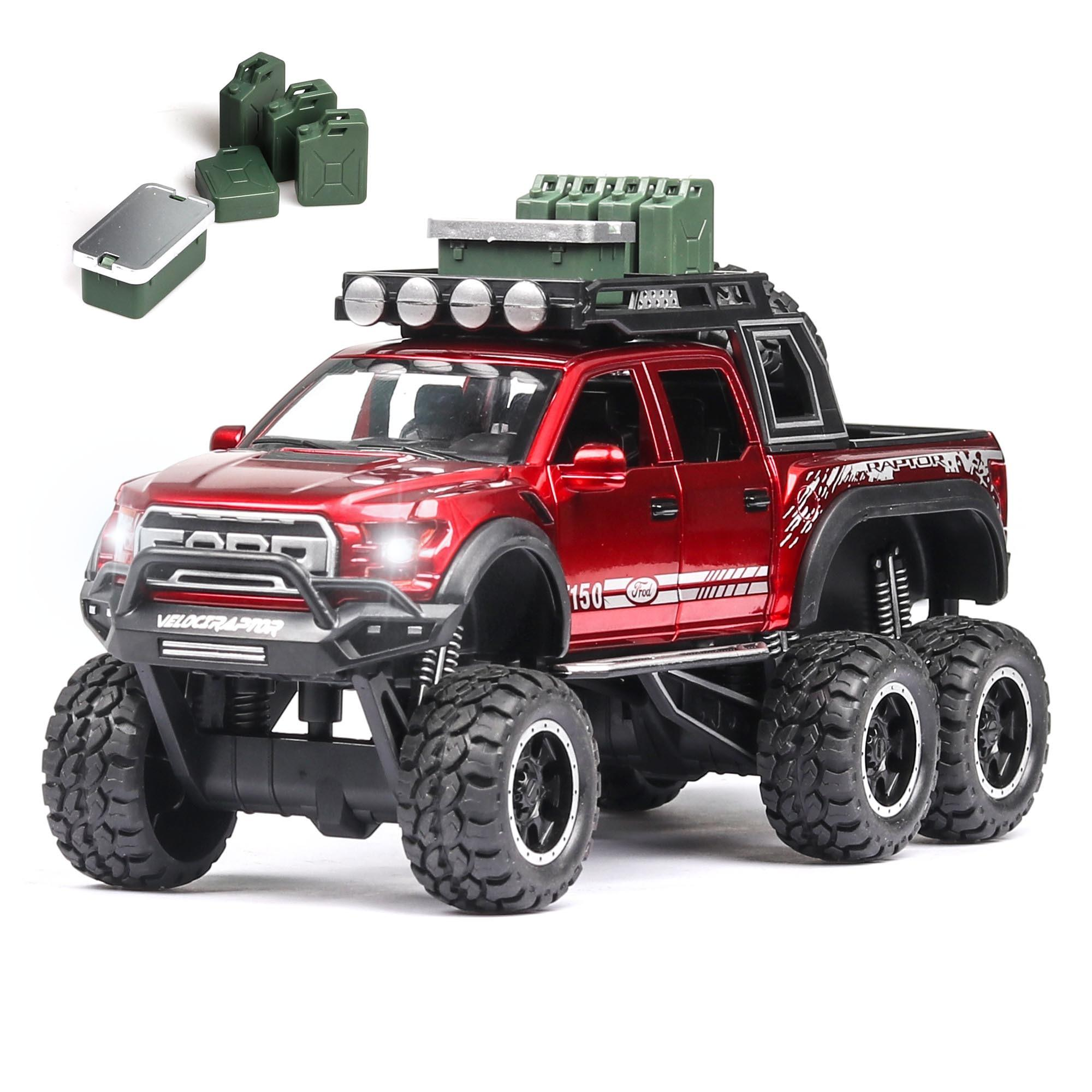 1:28 Diecast FORD RAPTOR f150 SUV Metal Model Car Toy Wheels Alloy Vehicle Sound And Light Pull Back Kid Car Toys For Children Y200317