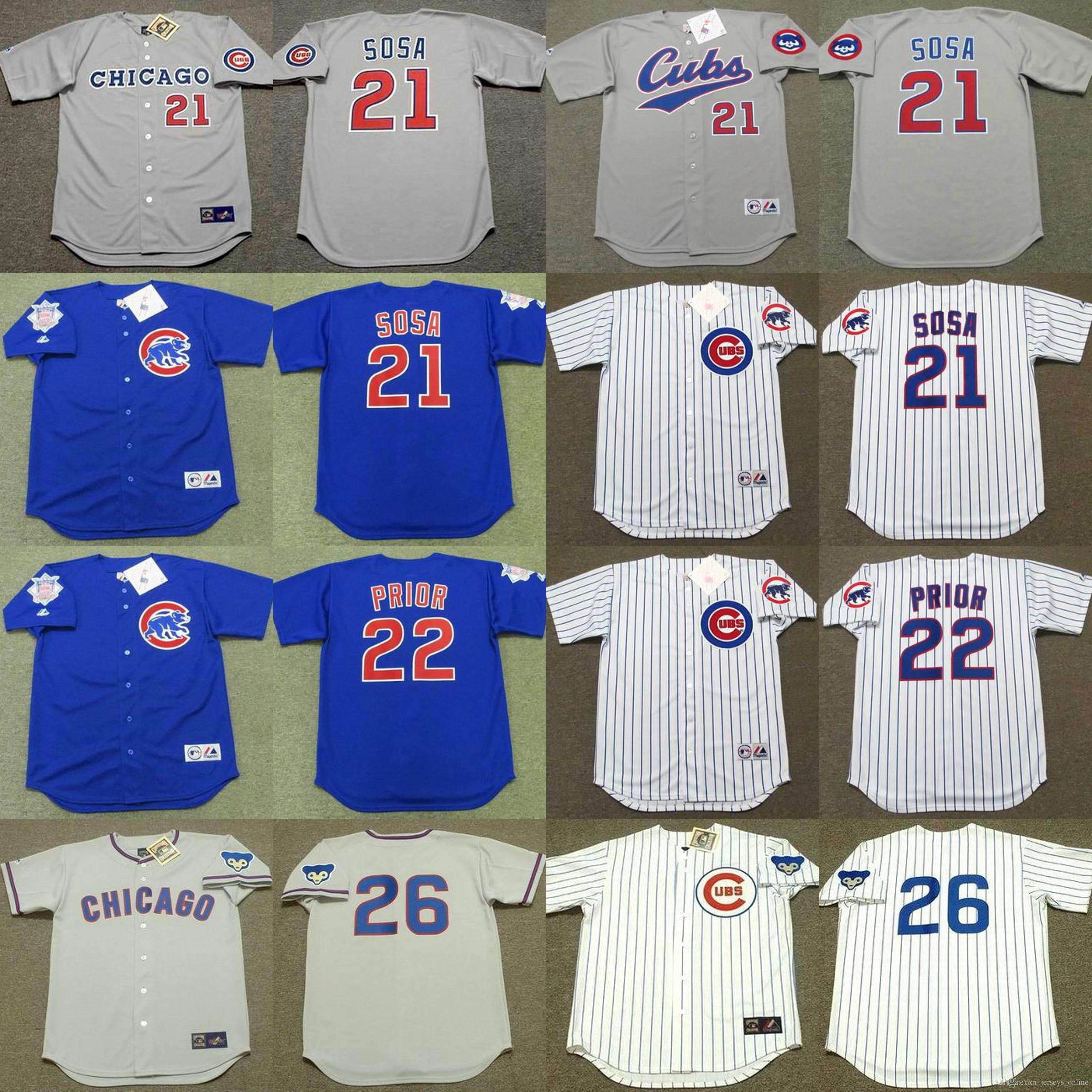 Chicago 10 DAVE KINGMAN 26 BILLY WILLIAMS 21 Sammy Sosa 31 Ferguson Jenkins 22 MARK jérsei de basebol ANTES costurado