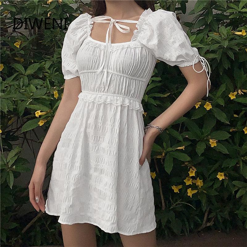 DIWEINI 달콤한 소녀 tasse 미니 드레스 여성 케이팝 우아한 하이 스트리트웨어 흰색 매일 파티 휴가 스타일의 드레스