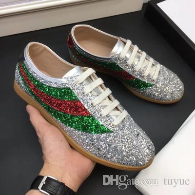 Designer Shoes Casual falacer sneaker enrichi avec des cristaux scintillants Glitter Sylvie sneaker Web pour les femmes des hommes.