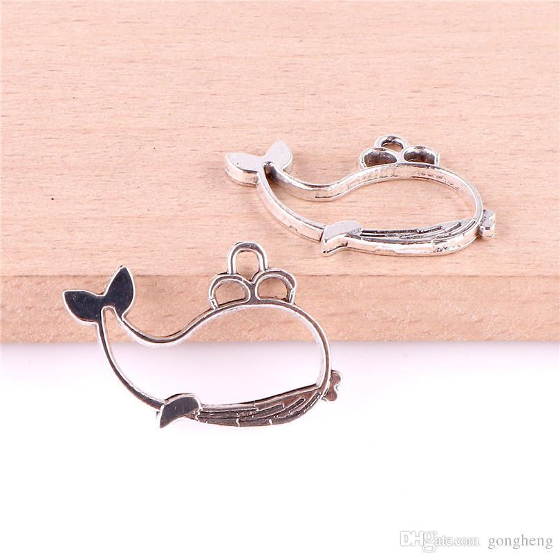 23497 50PCS de plata tibetana del océano ballena encanta los colgantes para pulsera del collar de la joyería que hace DIY hecho a mano