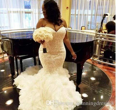 Plus size vestidos de casamento africanos Trumpet Lace corpete Ruffles inferior saia Tribunal Trem barato casamento vestido longo vestidos de noiva baratos