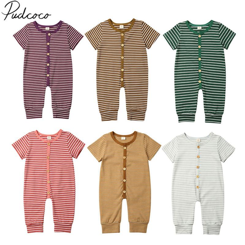 2019 Baby Summer Clothing Newborn Infant Baby Girl Boy Striped Clothes Romper Jumpsuit Short Sleeve Outfit Daily Playsuits