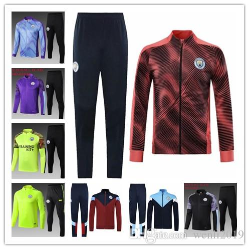 2019 manchester agasalho terno treinamento survêtement futebol camisola 19 20 KUN AGUERO Mahrez jaqueta de futebol Jogging chandal futbol cidade