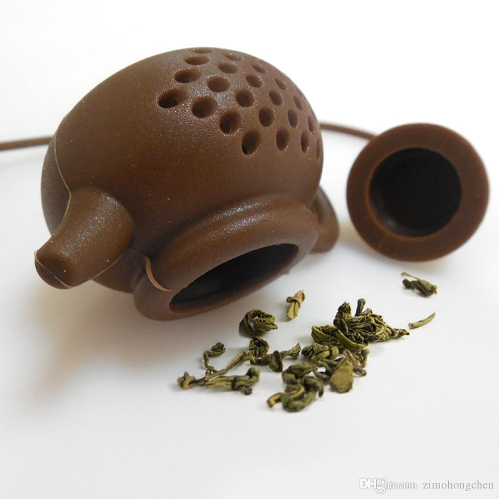 Tetera En forma de té Infuser del tamiz de silicona bolsa de té de la hoja de filtro difusor colador de té de té Herramientas Suministros