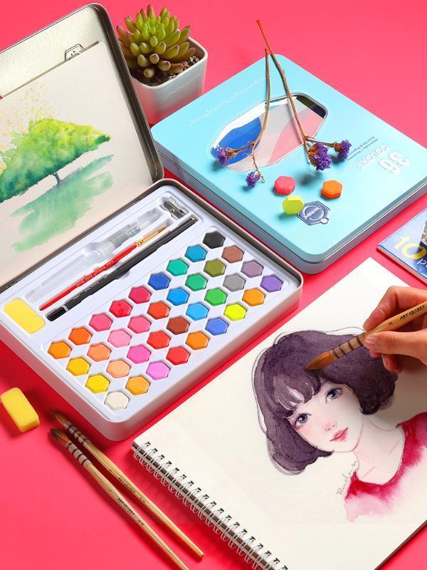 Conjunto de la pintura de acuarela de color sólido 36 niños principiantes caja de embalaje pintado a mano aguada pincel de acuarela suplicación herramienta de arte