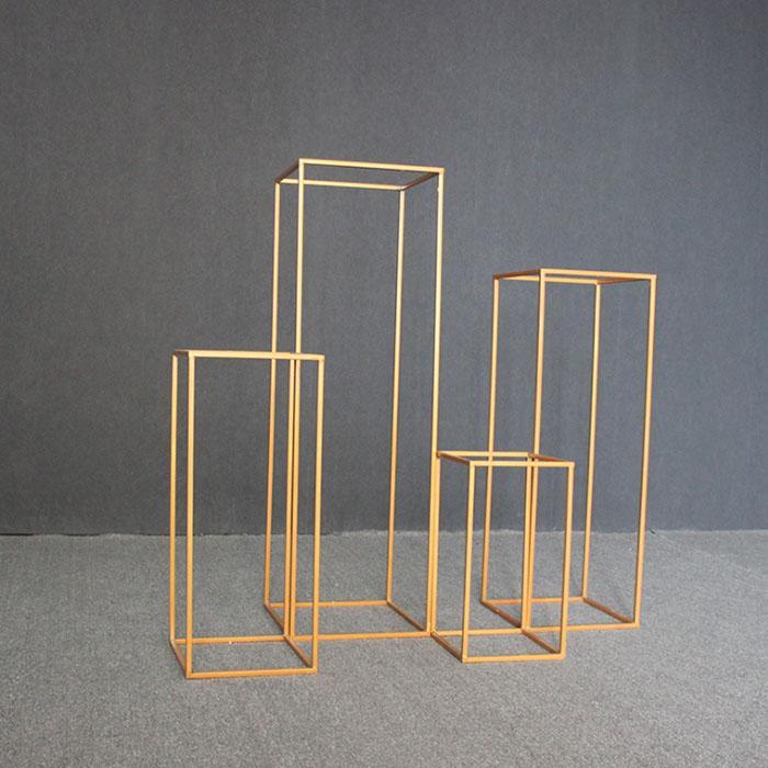 4 Adet / takım Düğün Dekorasyon Çiçek Sütun Standı Yol Kurşun Metal Raf Sahne Süslemeleri Ekran Raf 3 Renkler Taşınması Kolay Yükleme