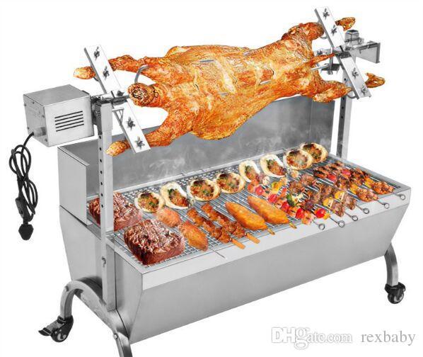 90CM معدات تجهيز الأغذية آلة خنزير تجاري مشوي شواء البقعة الدجاج خنزير خنزير المشواة الفولاذ المقاوم للصدأ تحميص المحرك