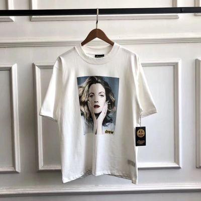 Mens Designer Marque Tide DREW MAISON T-shirt à manches courtes Portraits d'impression des hommes et des femmes avec des femmes argent Europe et en Amérique