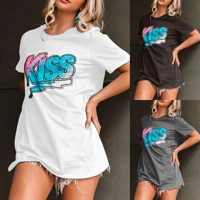 Verão T para senhoras da forma das mulheres T com Impresso Casual Streetwear Womens Tees Alta Qualidade 3 cores Tamanho S-2XL