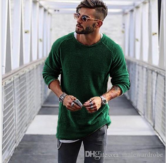 Shirt Moda Maglieria girocollo manica lunga da uomo maglione casuale Solid Abbigliamento Maglione Uomo 6 colori