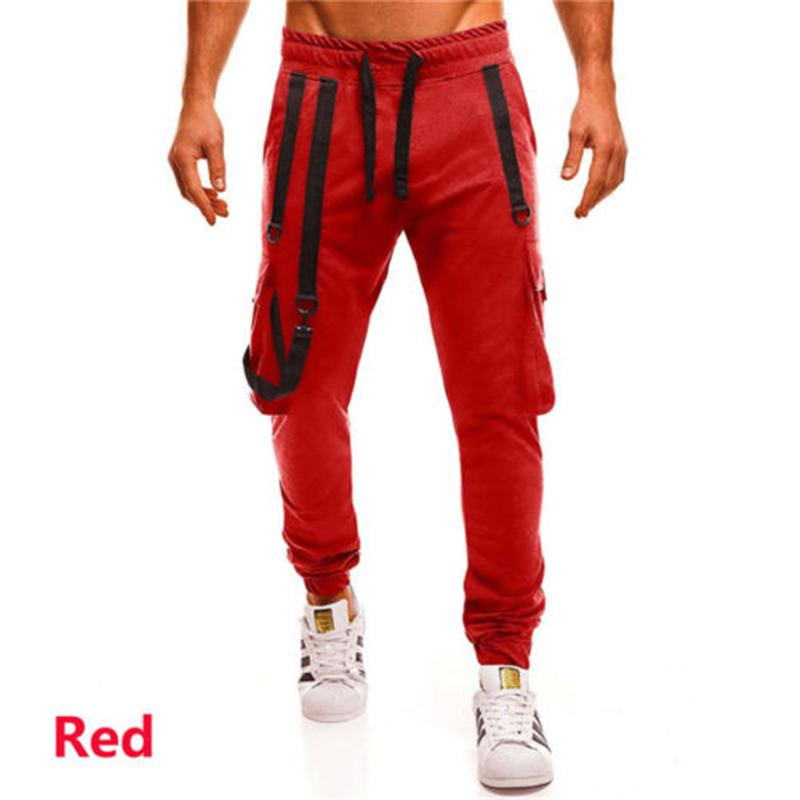 Mens Slim Fit Calças Elastic estiramento Skinny Pants Tactical Pants cargas sólidas cintura alta algodão tornozelo comprimento Masculino Jogger