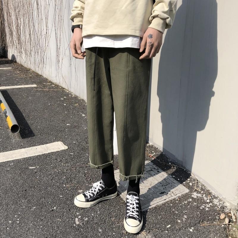 2019 Algodão dos homens de Verão Calças Casuais Ativo Lazer Elástico Harem Pants Masculino Verde Solto / preto / Damasco Cor Calças M-2XL