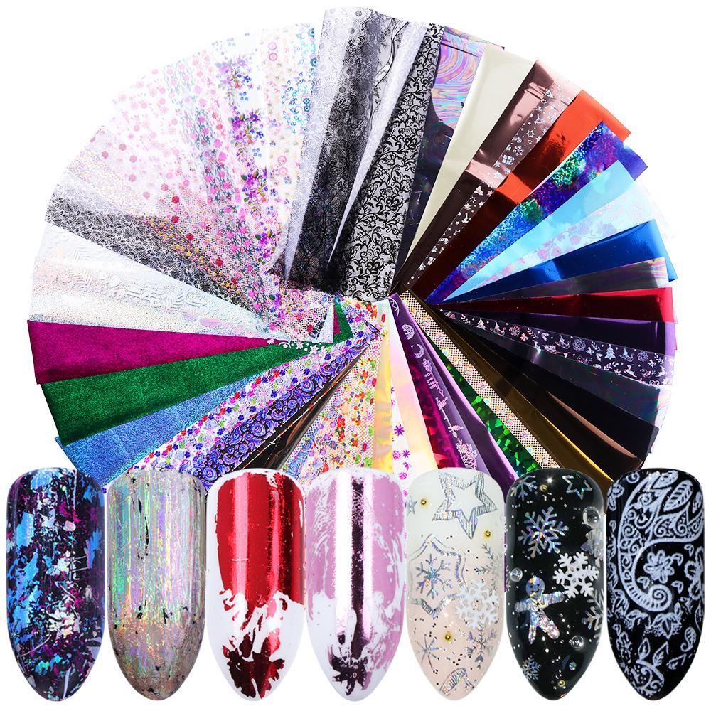 50 unid Holográfico Nail Foil Colorido Diseño Mezclado Pegatinas de Transferencia de Papel Estrellado Slides Para Arte Decoración Calcomanías Ji921