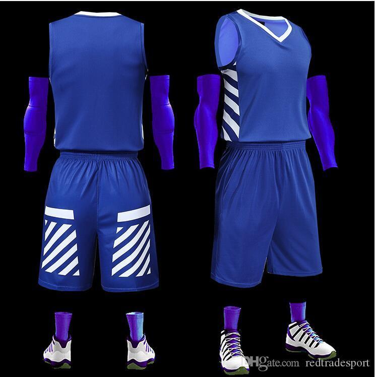 2019 nouveau blanc maillots de basket-ball imprimé logo Mens taille S-XXL pas cher prix expédition rapide bonne qualité Cool Blue CB001