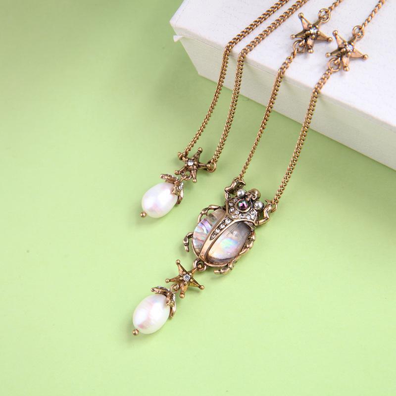 Freie Verschiffen-Frauen Schmuck Mehrschichtige Luxuxperlen Damen lange hängende Halskette