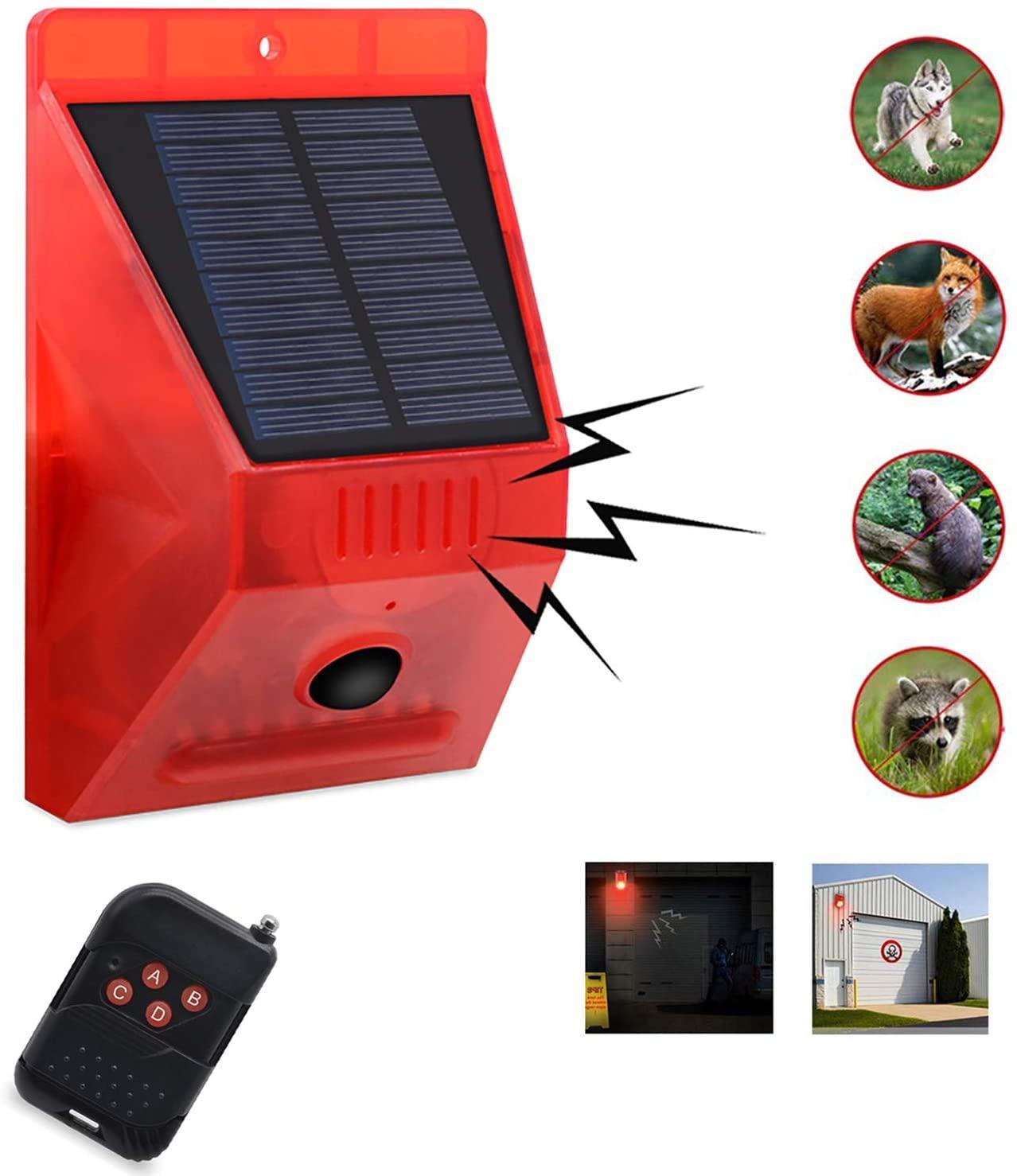 ستروب الخفيفة للطاقة الشمسية مع وحدة تحكم عن بعد الخفيفة للطاقة الشمسية ستروب مع كاشف الحركة الشمسية الخفيفة إنذار 129db الصوت الأمن صفارة الإنذار