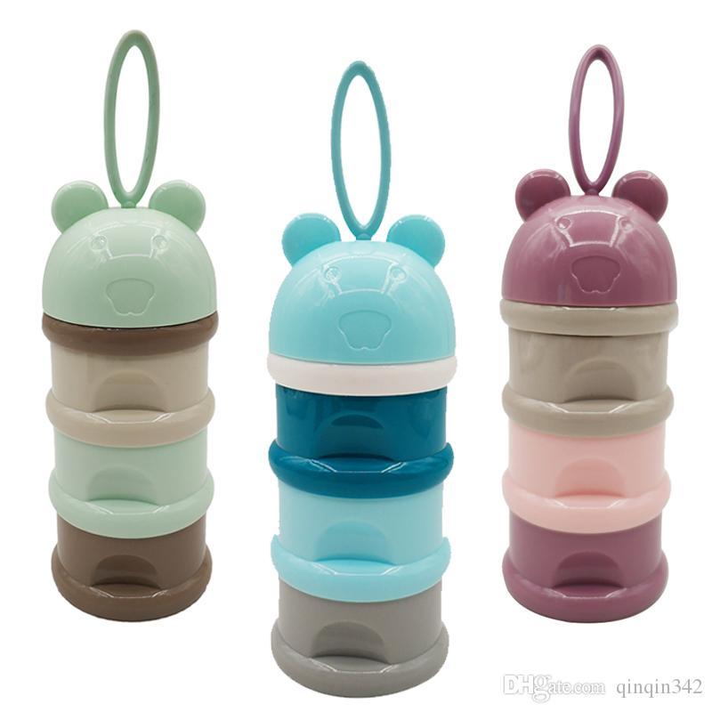 3 camada Estilo Sapo portátil Baby Food Caixa de armazenamento Cereal Essencial leite dos desenhos animados caixas de pó Toddle Crianças Formula Milk Container