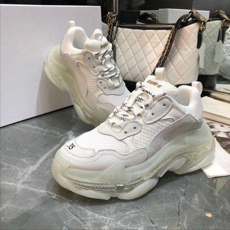 Cristal Bas semelle transparente Chaussures Casual Triple S Low Old Dad Sneaker combinaison Soles Bottes Hommes Femmes Chaussures Baskets