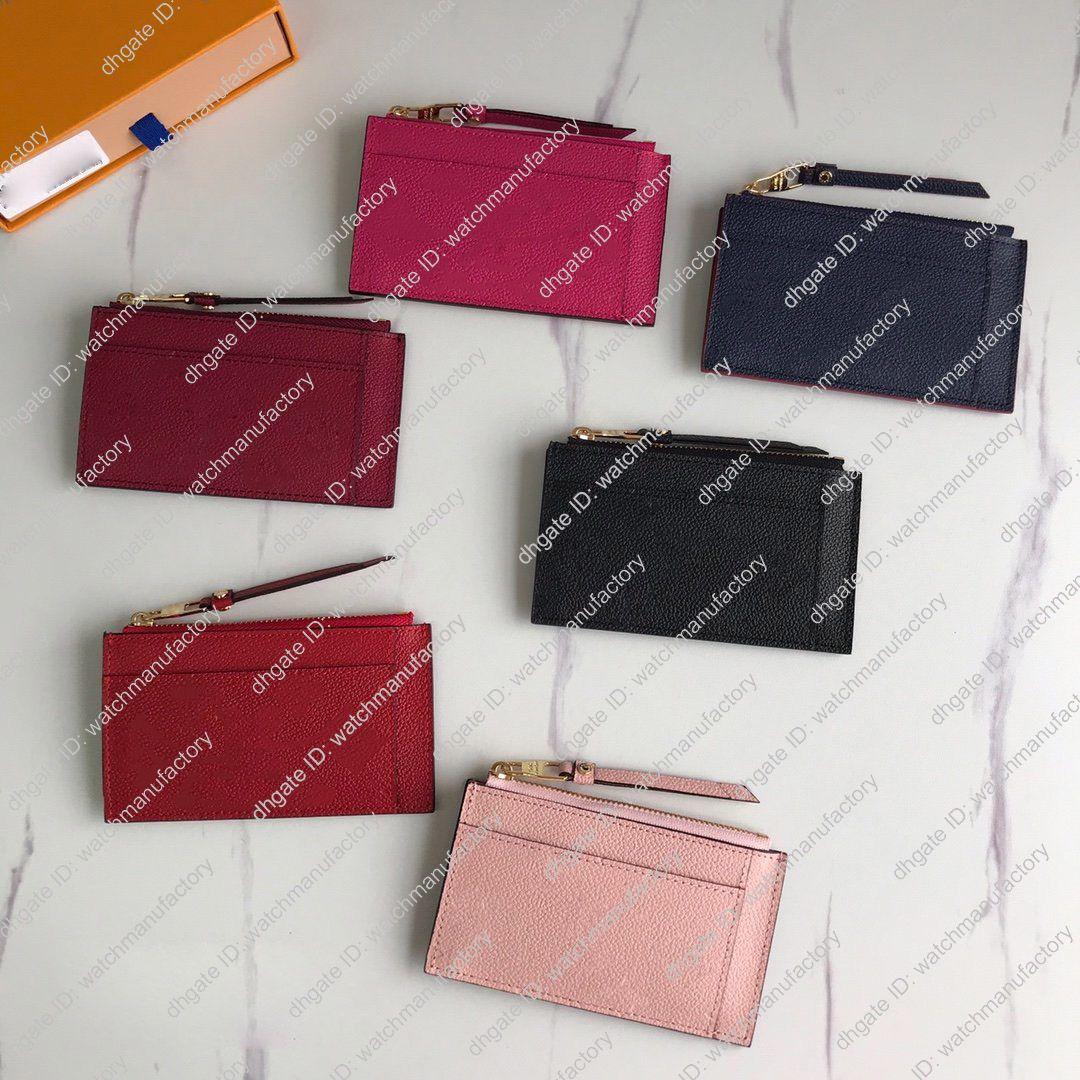 diseñador de lujo de la carpeta del cuero genuino de titular de la tarjeta bancaria Organizador multifunción dinero del bolsillo de bolsillo de la moneda carpeta corta