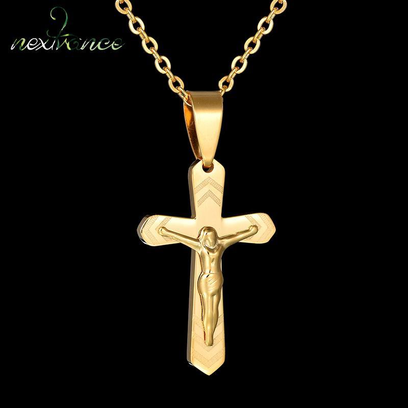 Nextvance in acciaio inox croce Gesù Collana in Oro cristiane collane di preghiera a catena per le donne gli uomini Amulat Jewelry