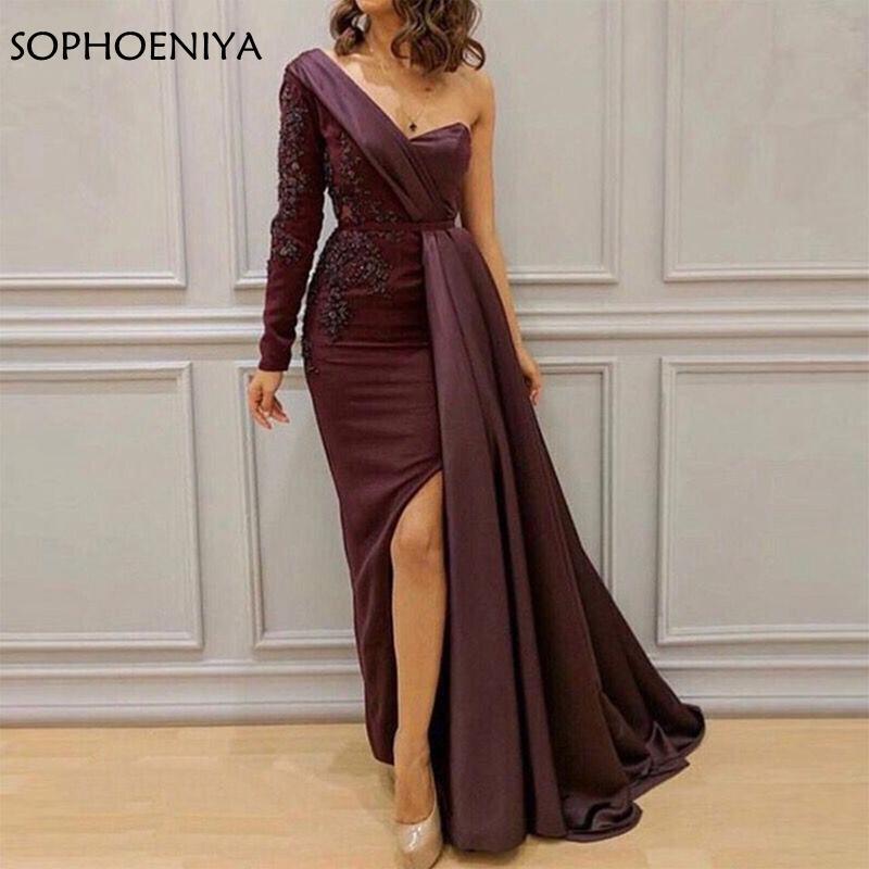 Elegant Une epaule manches longues Robes de soirée Kaftan saoudien Pourpre Robe de soiree Soirée abiye robe