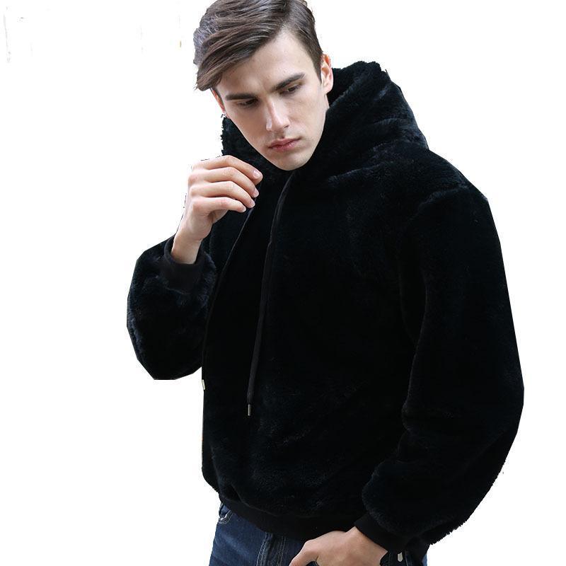 moda taklit kürk polar kabarık kapşonlu erkekler rahat siyah peluş kapüşonlu sweatshirt kış uzun kollu hoodies kalınlaştırmak kat sıcak