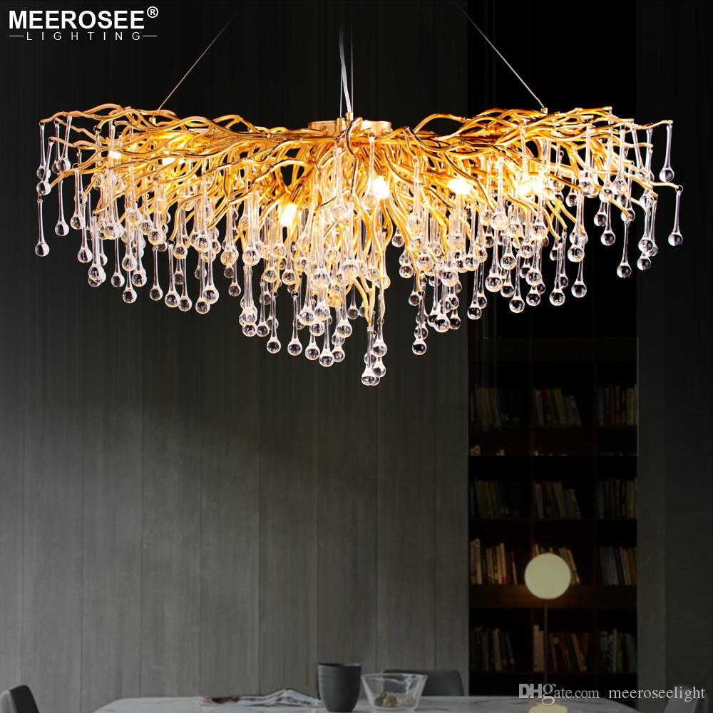 2019 роскошный Кристалл подвесной светильник современный популярный золотой цвет G9 Кристалл Rectanglsuspension блеск для ресторан отель проект
