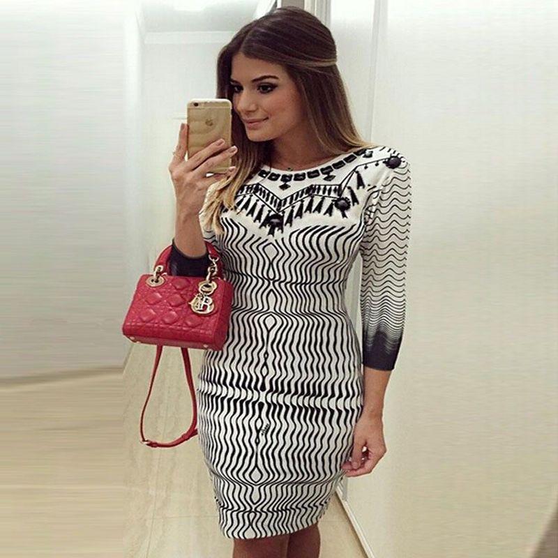 2018 Summer Fashion Robe Skinny femmes femme manches trois-quarts imprimé géométrique taille haute Robe de soirée Outfit