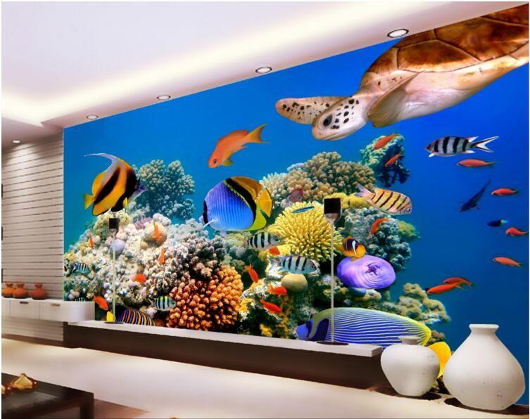Unterwasserwelt Tiefsee tropische Fische Schildkröte Wohnzimmer Wohnkultur 3D Wand muals Tapeten für Wände 3 d