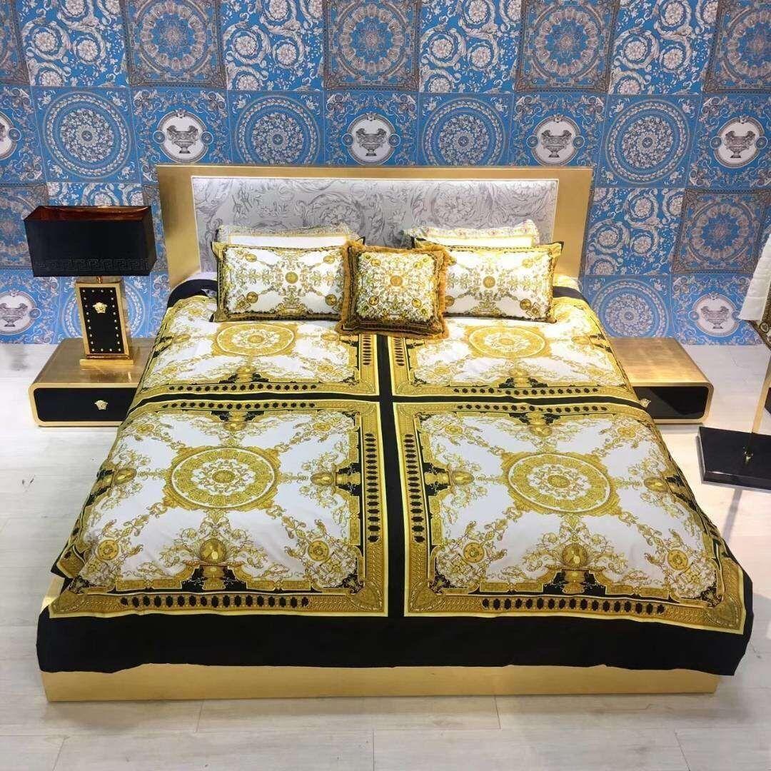 Luxury designer creative design classic 3D printing signage V bedding set 4 pieces 1 set Home Textiles Bedding Supplies 2019