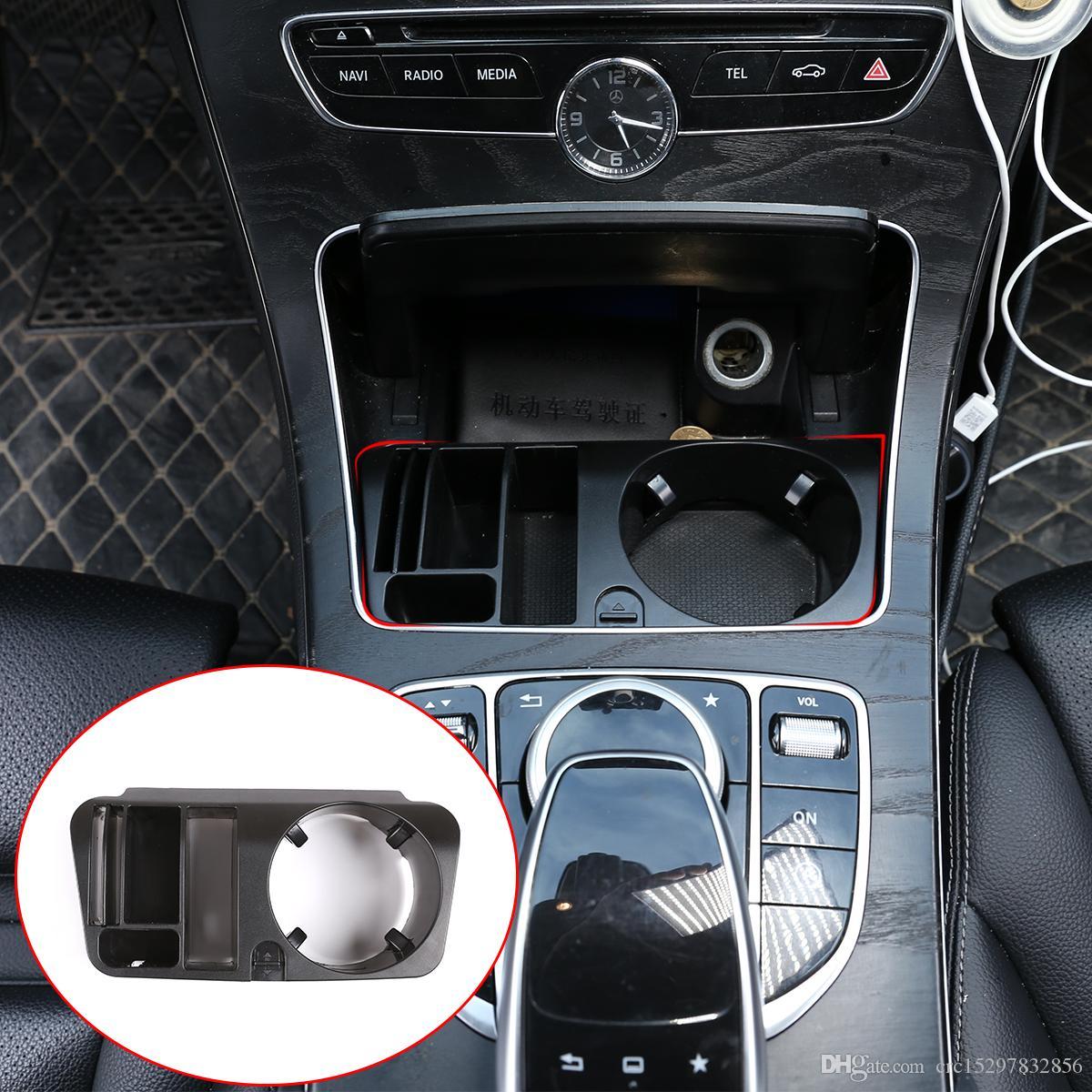 Console centrale en plastique multifonctions Accoudoirs Boîte de rangement Porte-gobelet pour Mercedes-Benz E C GLC Classe W213 x253 W205 2015-2020