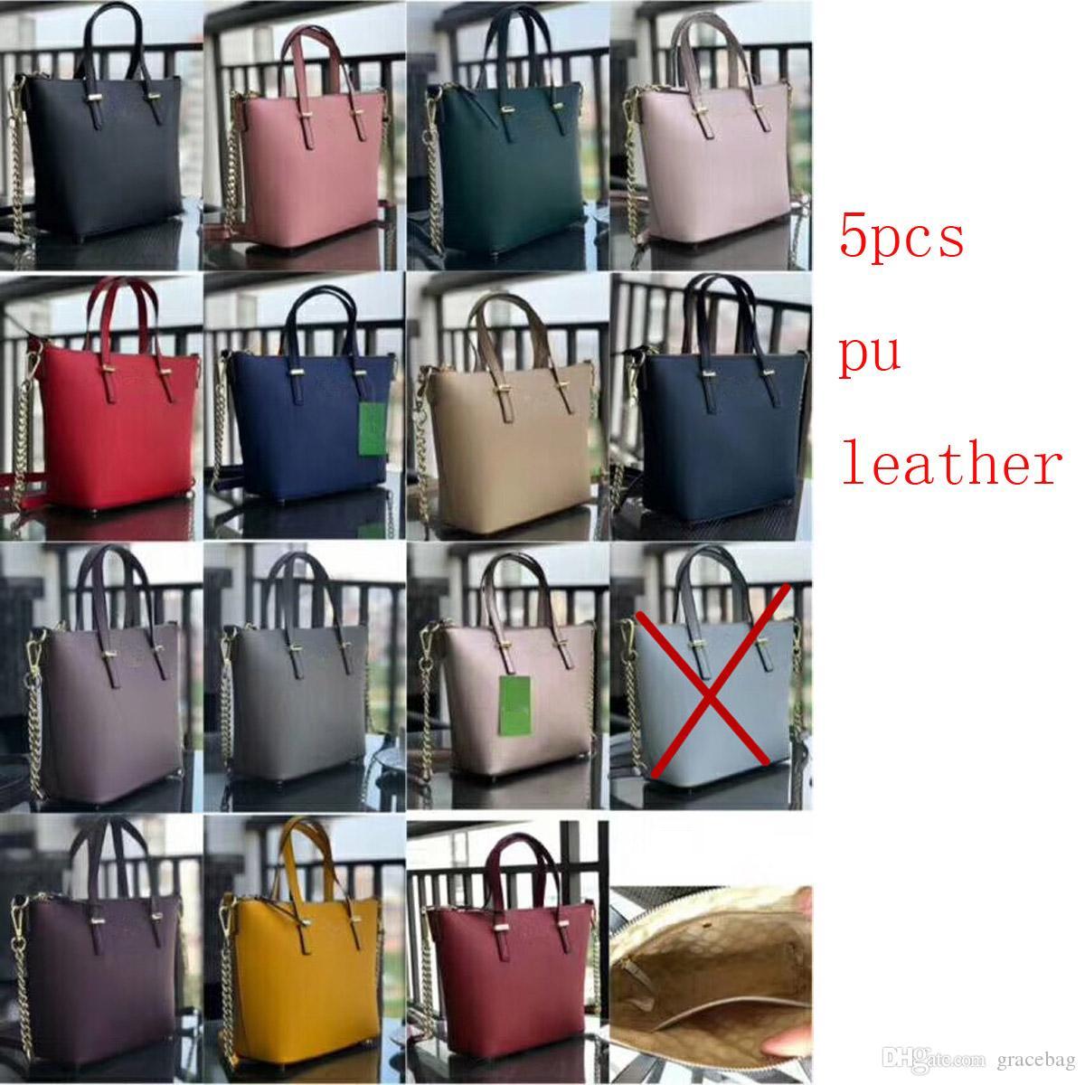 5 pcs Brand new pu bolsas de couro das mulheres sacos de ombro marca EUA colorido