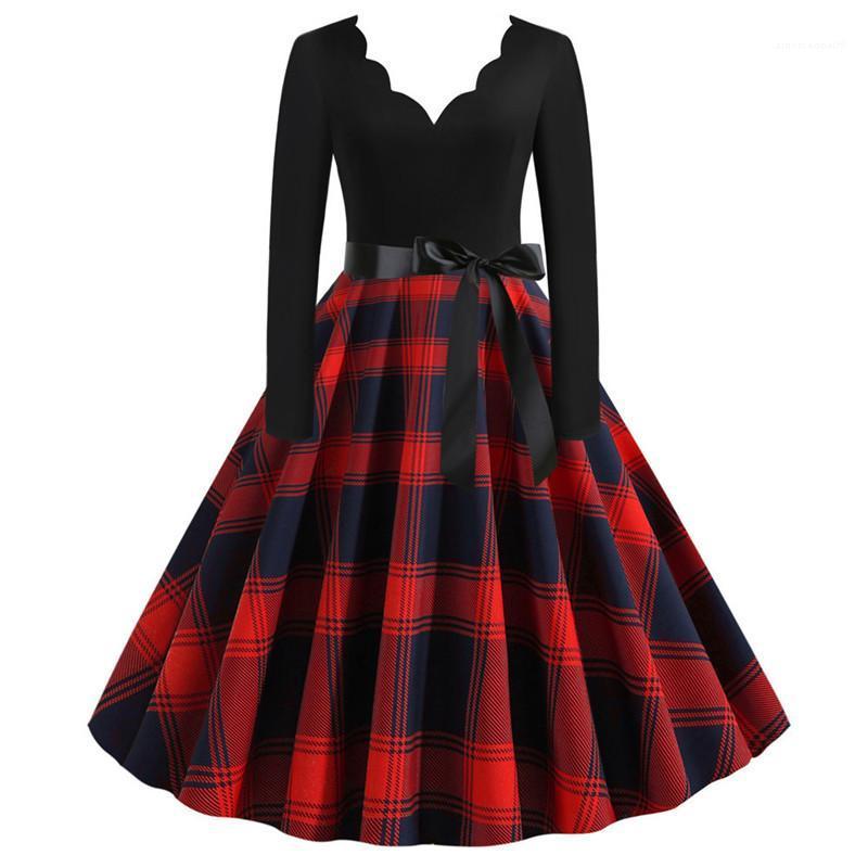 Vintage Kleider Mode-Tupfen-und Plaid beiläufige Frauen Zipper Kleidung Womens Designer-Bogen-Kleid mit V-Ausschnitt Frauen Panelled Drucken
