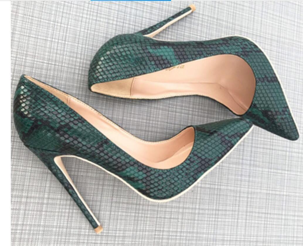 Chaussures à talons pointus en peau de serpent vert Talon fin Chaussures à talon pour dames Single bouche Bouche peu profonde 8cm 12cm 10cm boîte de nuit grande taille 44 Bas rouge