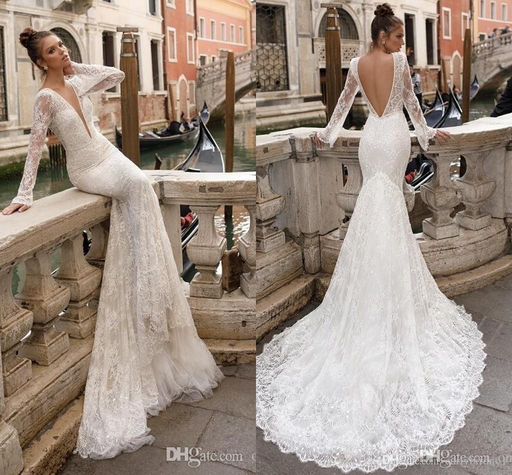 Long Sleeve Mermaid Wedding Dresses DHgate,Deep V Sheath Wedding Gown,Long Sleeve Wedding Dresses 2020,