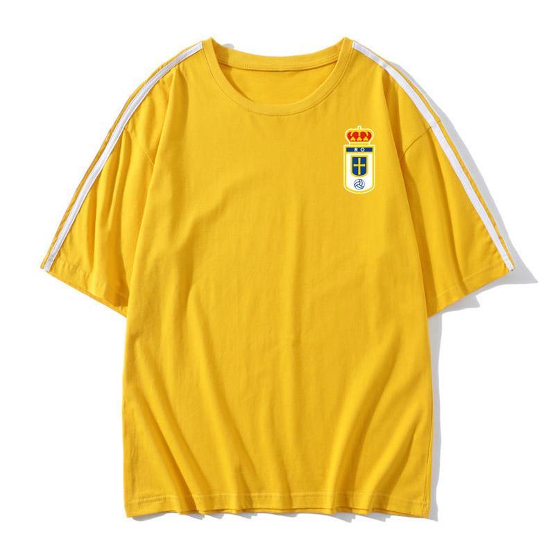 Gerçek oviedo Futbol Tişört Futbol Formalar Kısa Kollu Tişört gerçek oviedo Gevşek erkekler futbol antrenman formaları Futbol Gömlek Fanlar Tees Tops